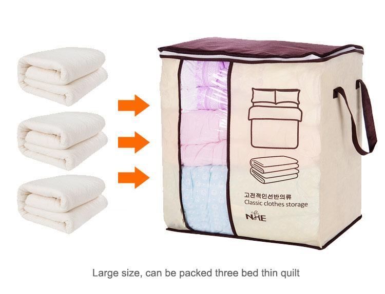 2018 new Non-woven Portable Clothes Storage Bag Organizer 45.5*51*29cm Folding Closet Organizer For Pillow Quilt Blanket Bedding 15