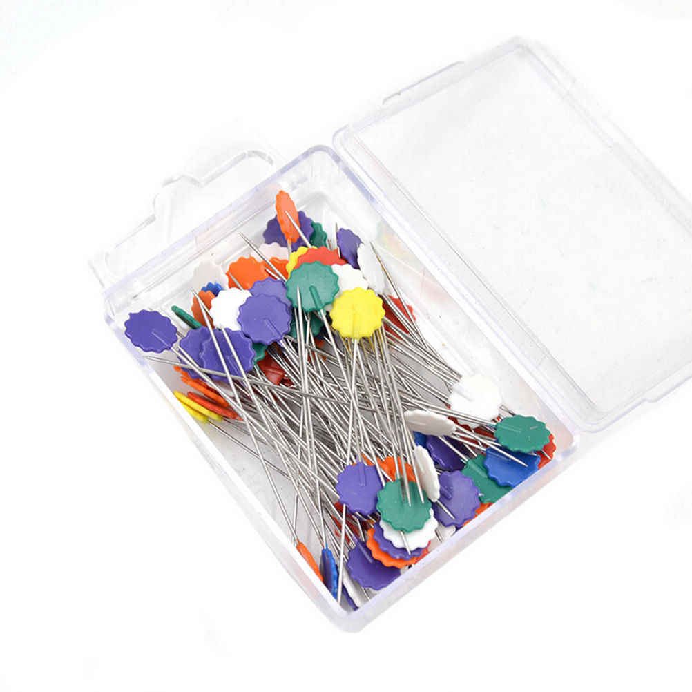 100 Pcs/Pack Apparel Sewing Patchwork Pins Locating Pin Flat Pins With Flower Bow Tie Button Shape Head