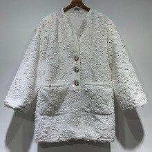 High quality womens sequins tweed coat 2019 Autumn elegant pockets overcoat women A619