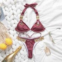 In x seksowna z kryształami bikini set Push up bikini 2020 bandaż kostium kąpielowy damski stroje kąpielowe letni strój kąpielowy kobiety kąpiących kostium kąpielowy