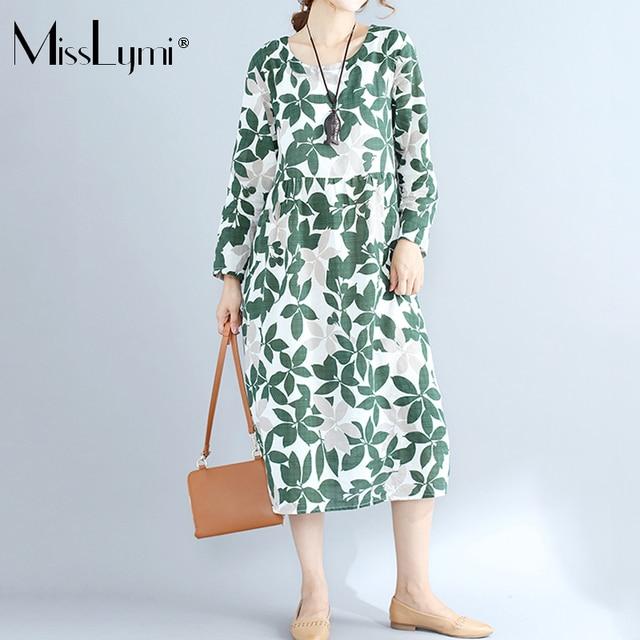 3f8fc13d97 MissLymi Women Beach Dresses 2018 Spring Casual Loose Linen O-neck Long  Sleeve Leaves Print Renaissance Long Dress Female Green