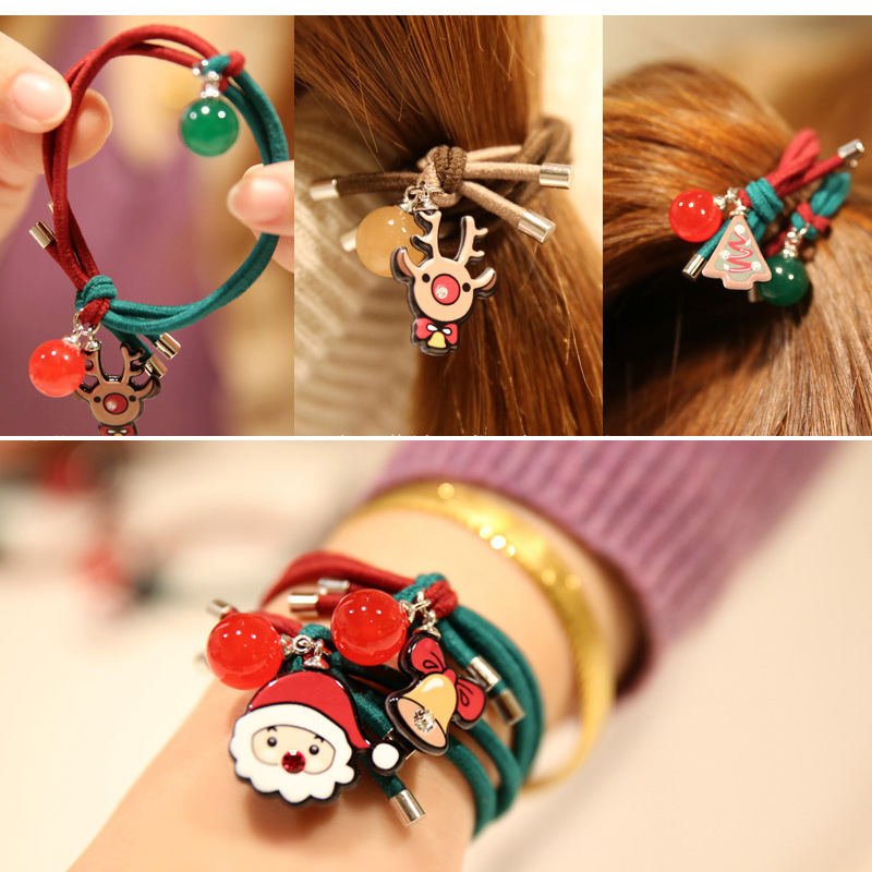New Novelty Hot Sale Girl's Cartoon Christmas Hair Accessories Fashion Kids Candy Rubber Bands Headwear