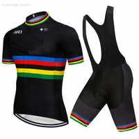 2019 Pro UCI équipe vélo vêtements noir personnalisé cyclisme Jersey ensemble Ciclismo Jersey à manches courtes ensemble cyclisme vêtements vtt porter 9D