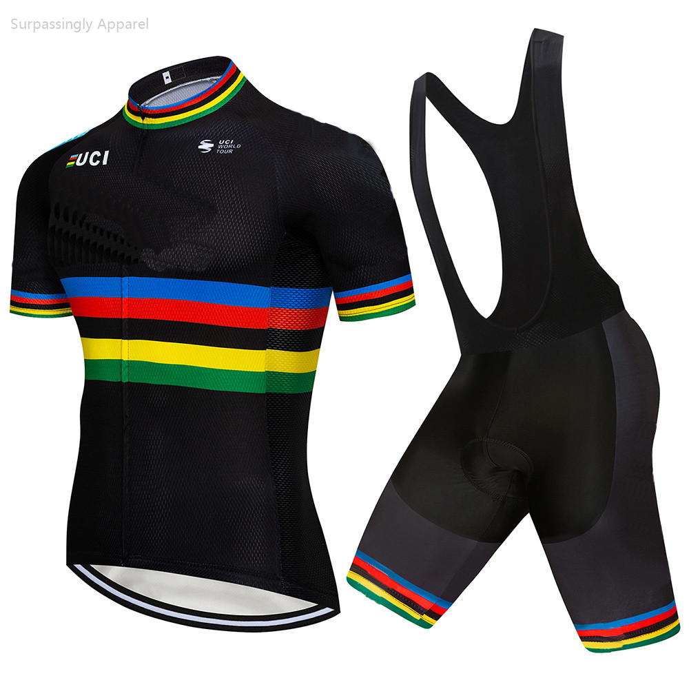 2019 Pro UCI TEAM Bike Clothing BLACK Custom Cycling Jersey Set Ciclismo Jersey Short Sleeve Set Cycling Clothing MTB Wear 9D