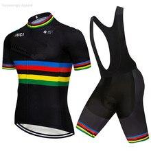 2019 Pro UCI одежда для коллективного велосипеда Черный Индивидуальный костюм для велоспорта набор Ciclismo Джерси с коротким рукавом комплект велосипедная Одежда MTB 9D