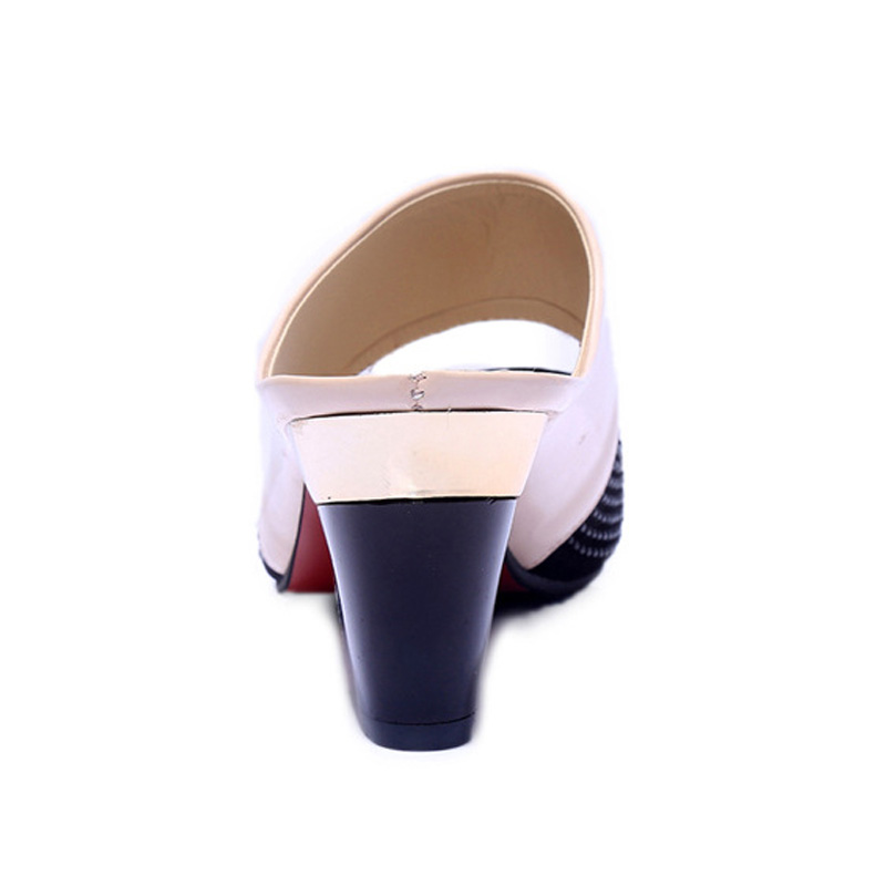 Women Sandals Square Heel 2019 Summer Shoes Woman Fashion Slides Cut out Open Toe Slip On Women Sandals Square Heel 2019 Summer Shoes Woman Fashion Slides Cut-out Open Toe Slip On Mothers Sandals Female Bling Slippers