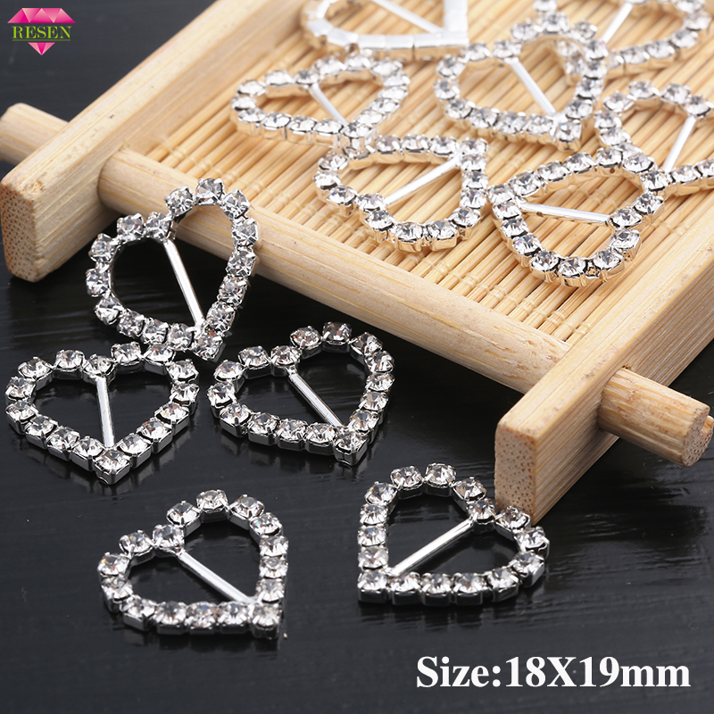 RESEN 10PCS Heart Rhinestone Buckle Metal Crystal Sliver Buckles For Hair Craft Accessories Clothing Wedding Invitation Card