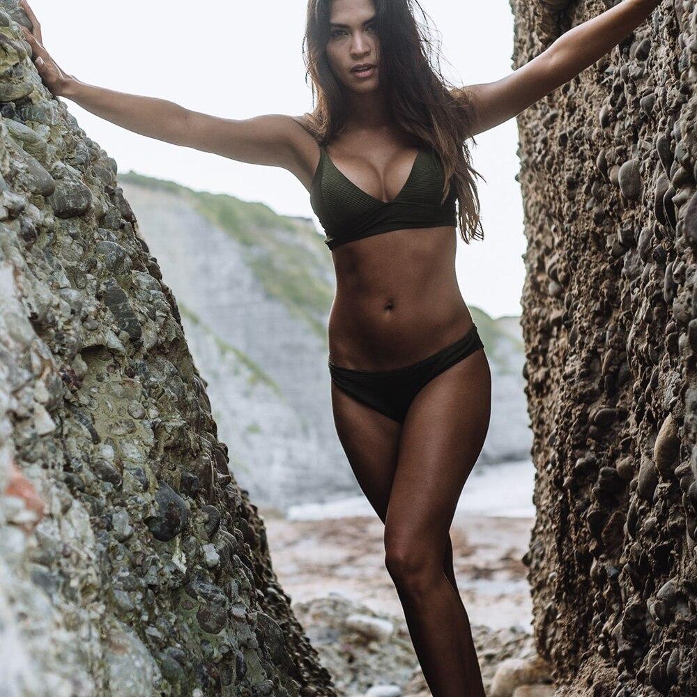 CUPSHE Army Green Solid Bikini Set Women Triangle Sexy Two Pieces Swimwear 2019 Girl Plain Beach Bathing Suit Swimsuits