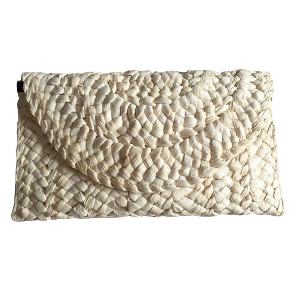 5pcs/lot Straw Bag Women Elegant Braided Clutch Handbag Envelope Hasp Beach Bag