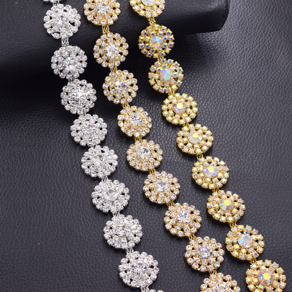 10yards 2 2cm Crystal AB sew on rhinestones trims for clothing belt sash paches sewing fabric