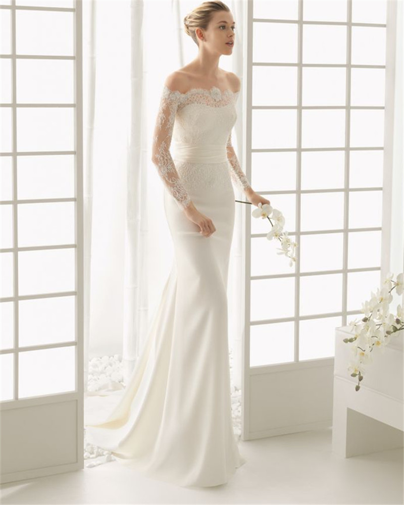 New Arrival 2019 Elegant Boat Neck Mermaid White Wedding Dresses Long Sleeve Lace Bridal Gown Robe De Mariee Vestidos De Novia