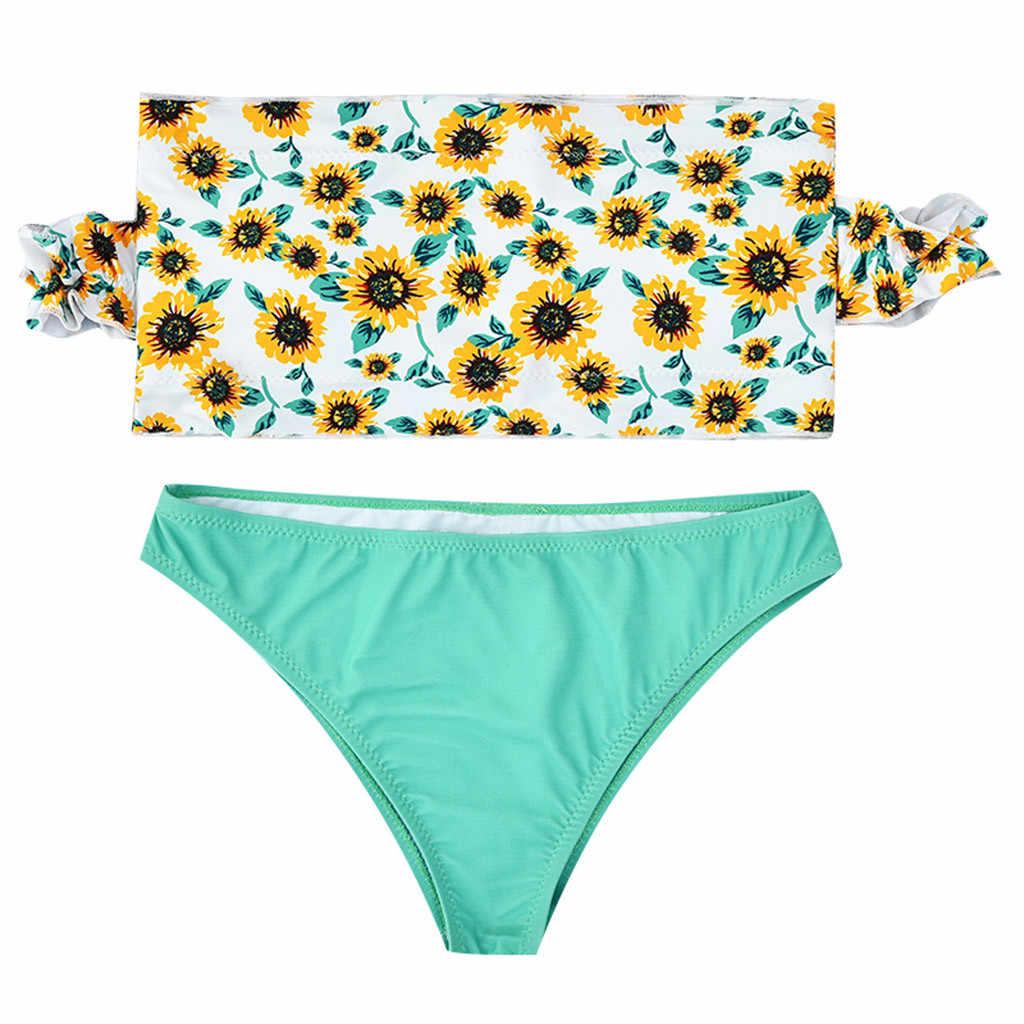 Bikini Set Musim Panas Solid Dua Sepotong Mengacak-acak dengan Berpinggang Tinggi Lucu Cetak Pantai Bra Mandi Swimsuit Beachwear Swimwear Harian J625