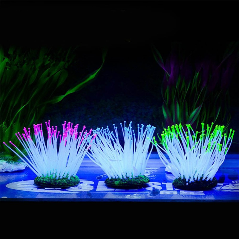Silicone Plant Aquarium Glowing Coral Decoration Noctilucent Light For Home Garden Fish Tank Glow In Star Coral Decoration thumbnail