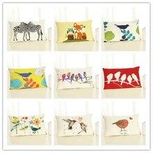 30x50 High Quality Creative Cartoon Funny Animal Print Home Decor Cushion Cover Cotton Linen Chair Cojines