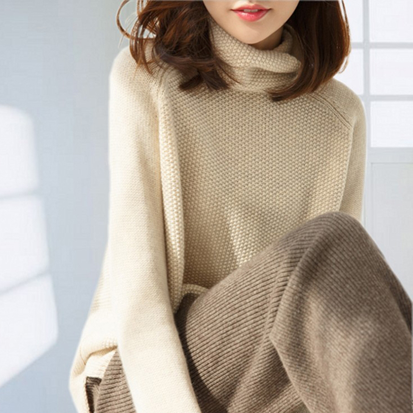 Hot SaleWomen Pullover And Sweater 100% Cashmere And Wool Jumpers  3Color Winter New Fashion Thick Warm Female Clothes Girl Tops