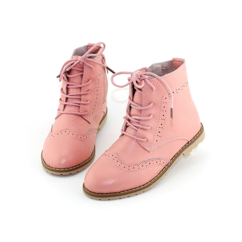 2017 Spring Girls Ankle Boots Genuine Leather Kids Martin Boots Princess Pink Boots Summer Cut Out Hollow White Shoes Size 26-37 pink cut out