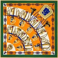 Цветастый плед 100% Шелк Квадратный Шарф Бандана тюрбан Шеи Платье Шелковый Платок Шарфы Оптом ZSFJ29