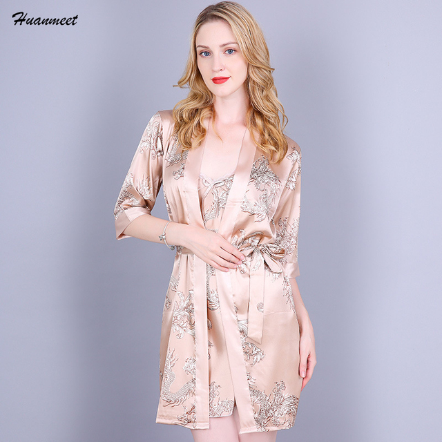 Women Satin Nightgown Robe Set Sexy Mini Nightwear Casual Sleepwear Silk  Pajamas Night Dress and Robe Set Satin Two Pieces Set aeca64e204