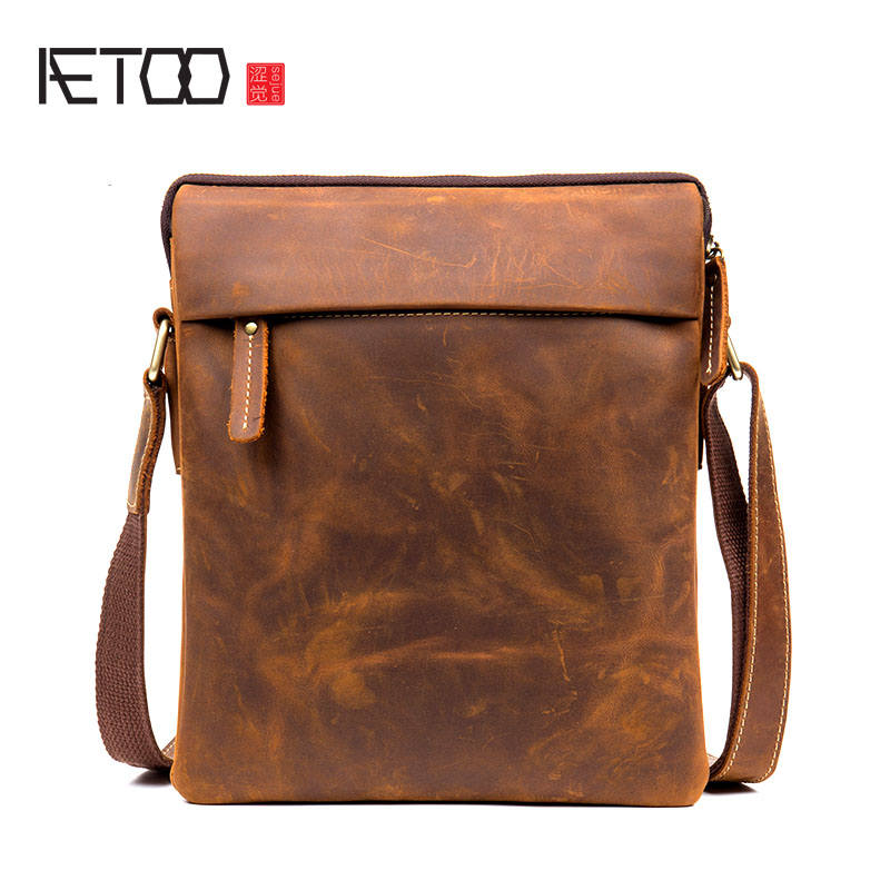 AETOO Vintage handmade crazy horse leather shoulder bag casual leather men