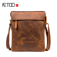 AETOO Vintage handmade crazy horse leather shoulder bag casual mens first layer of Messenger