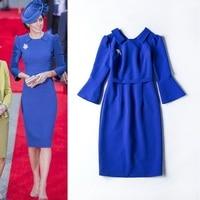 Princess Dress New Fashion British Style 2017 Autumn Winter Women Turn-down Collar Flare Sleeve Solid Blue Black Slim Dress Midi