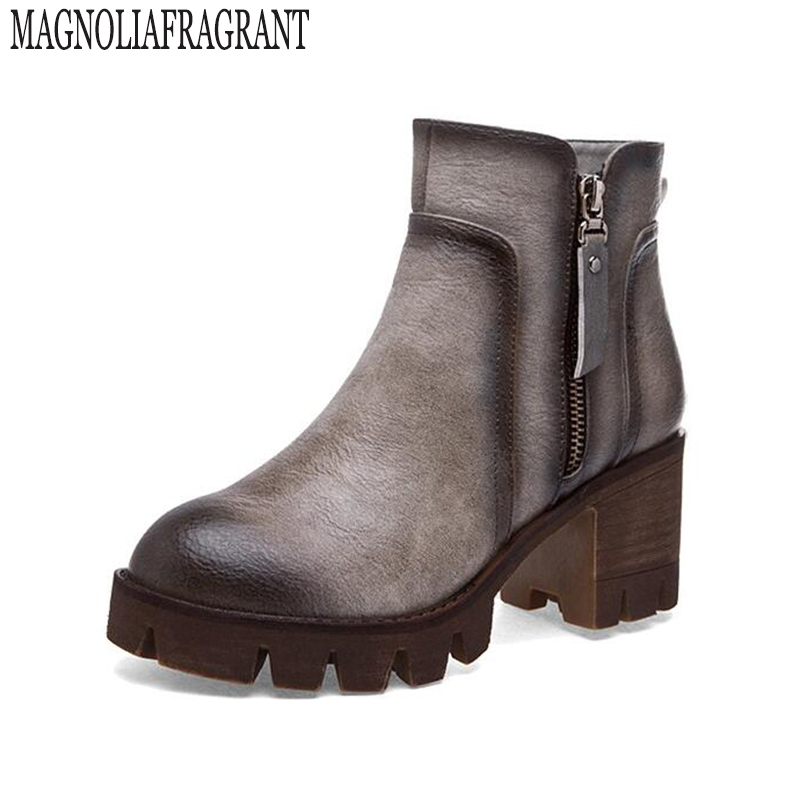 New Autumn and winter women Leather shoes vintage Europe star fashion Square high heels Ankle boots zipper platform Snow boots k new autumn winter warm women shoes snow boots square high heels artificial leather top casual female elastic band ankle shoes