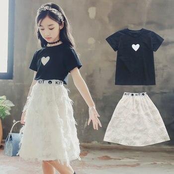 144393bbf Conjunto de ropa de verano para niñas 2019 ropa para niñas adolescentes 9  10 11 12 14 años conjuntos para Niñas Grandes niños camiseta para  adolescentes + ...