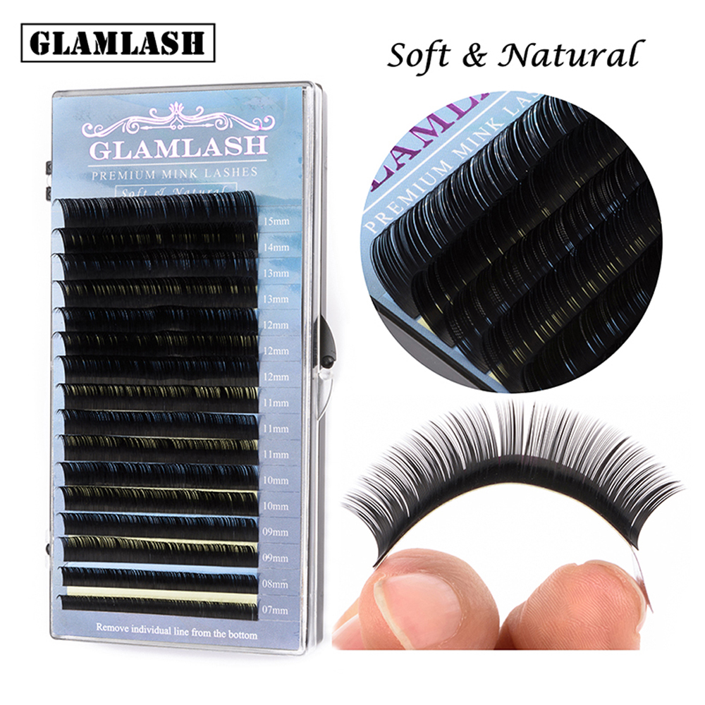 GLAMLASH Mix 7~15 Mm 16 Lines Sable False Natural Matte Black Eyelash Extension Wholesale Eye Lashes Extension Makeup Cilia