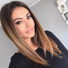 цена на Sleek Lace Front Human Hair Wigs For Black Women Brazilian Straight Bob Lace Front Wig Ombre Blonde Human Hair Wig Free Shipping