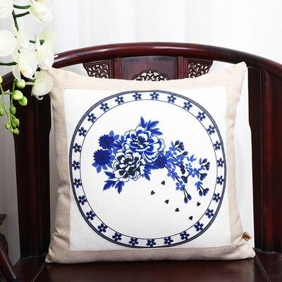 Шикарный элегантный китайский шёлковая наволочка на подушку подушка с цветами крышка Счастливого Рождества диван стул Подушка под поясницу декоративные наволочки - Цвет: blue white flower