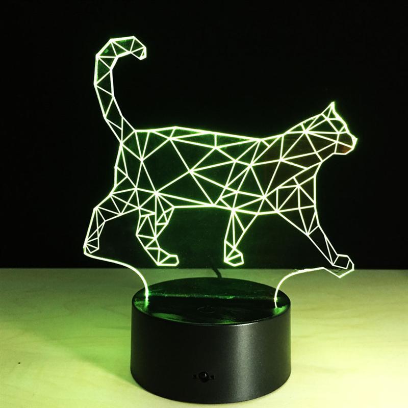 Cat лампада 3D Cat лампа настольная лампе ночник для друзей Изменяемая Цвет светодиодный ночник PMMA иллюзия Лампа сенсорный кнопку