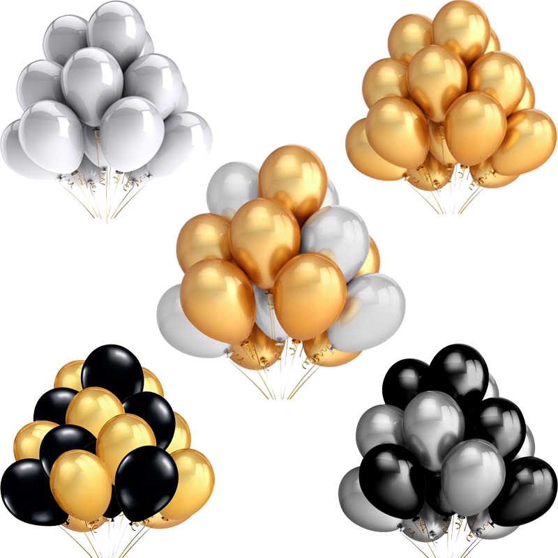 20pcs/lot 12inch Pearl Gold Silver Black Pearl Latex Balloons Birthday Wedding Party Decor Helium Balloons Kids Gifts Supplies