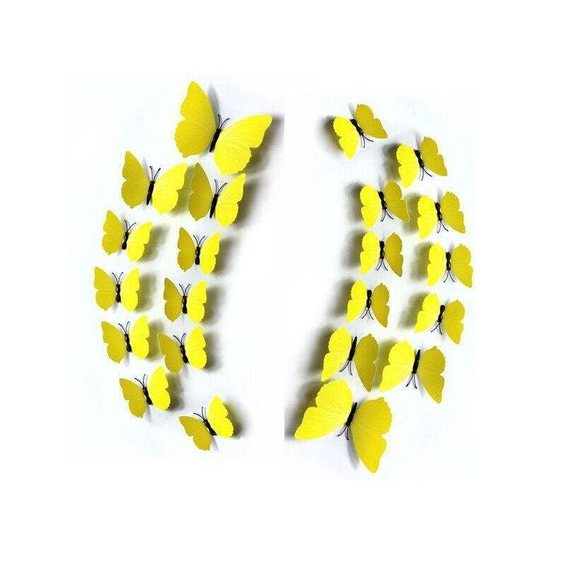①36pcs/lot 12cm 3D Butterfly Wall Sticker Modern Butterfly Magnetic ...