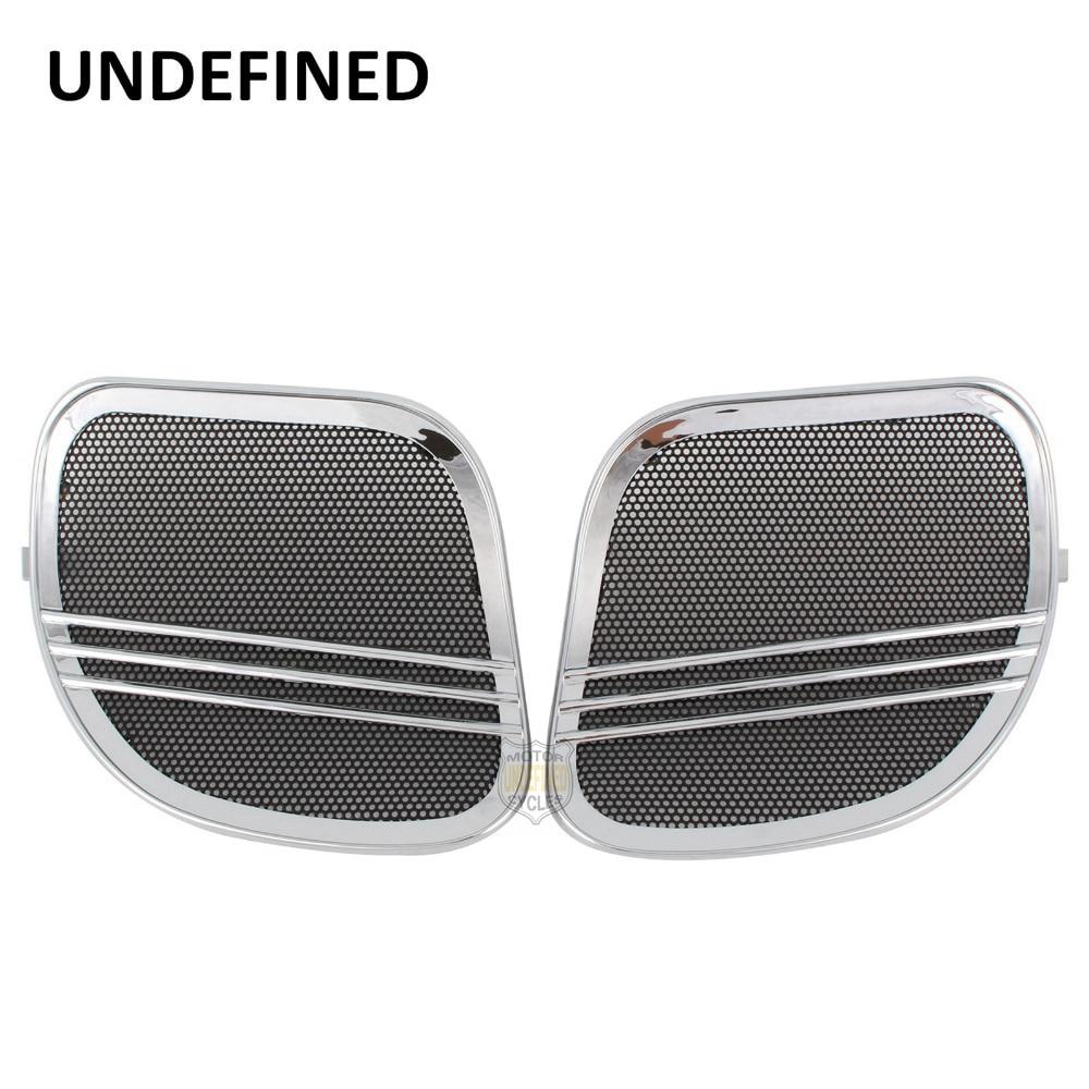 Chrome Motorbike Parts Tri Line Speaker Grills Cover Trim Mesh For Harley Road Glide FLTRX 2015 2016 2017 2018 UNDEFINED