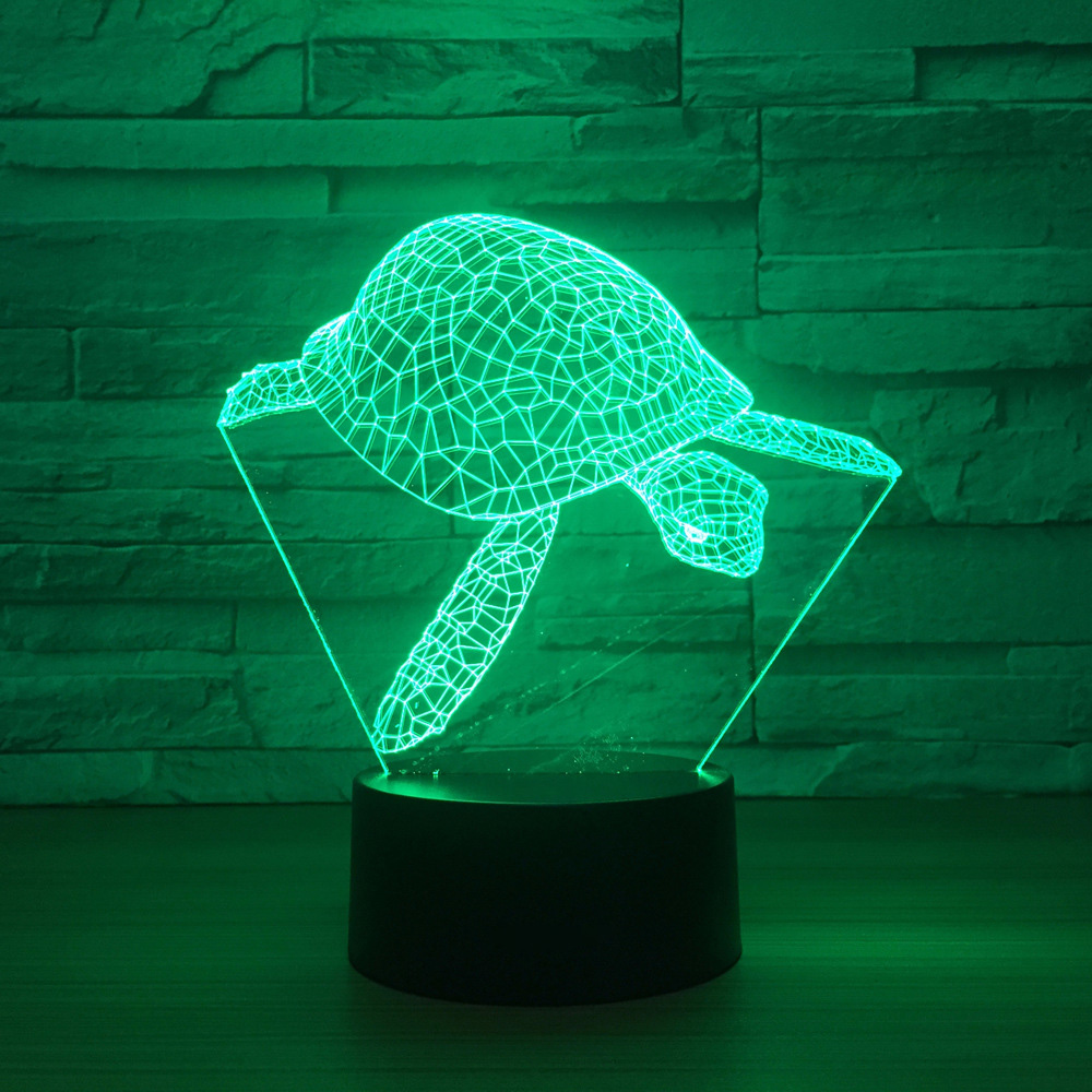 7 Colors Changing 3D Creative Visual Led Sea Turtle Modelling Night Light Usb Animal Tortoise Desk Lamp Baby Sleep Lighting Gift spiderman shape night light 3d stereo vision lamp acrylic 7 colors changing usb bedroom bedside night light creative desk lamp