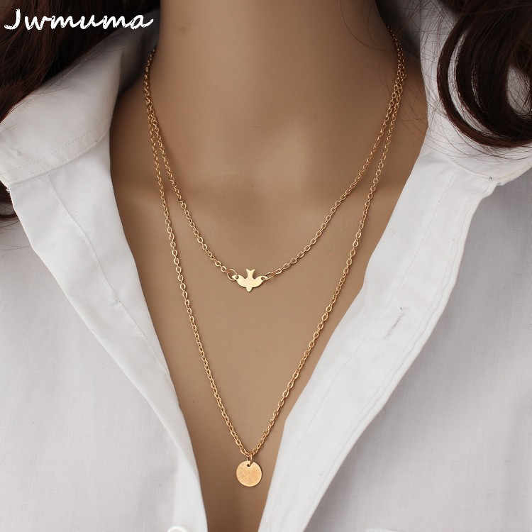 New simple wild Peace Dove Double Necklace Women's metal clavicle chain alloy jewelry accessories necklace For Women