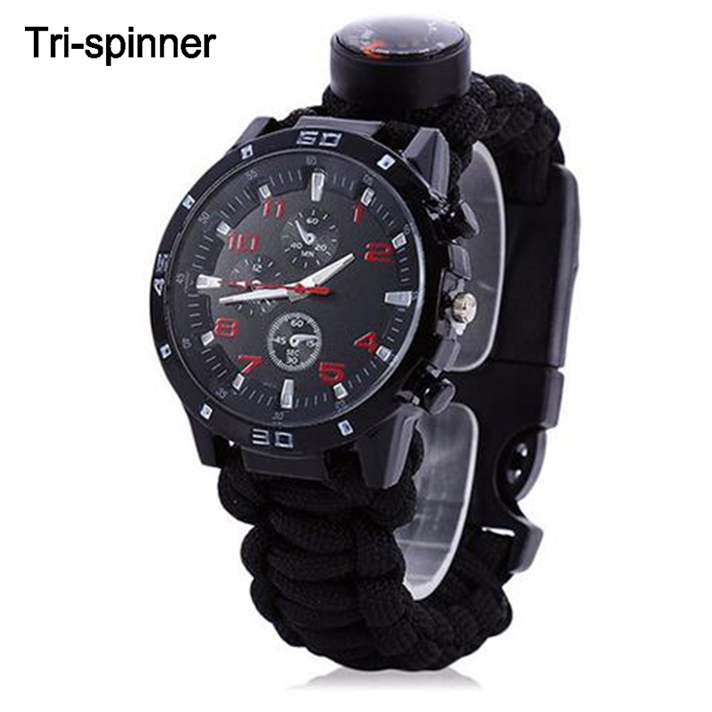 EDC Tactical multi Outdoor Camping survival bracelet watch compass Rescue Rope paracord equipment Tools kit