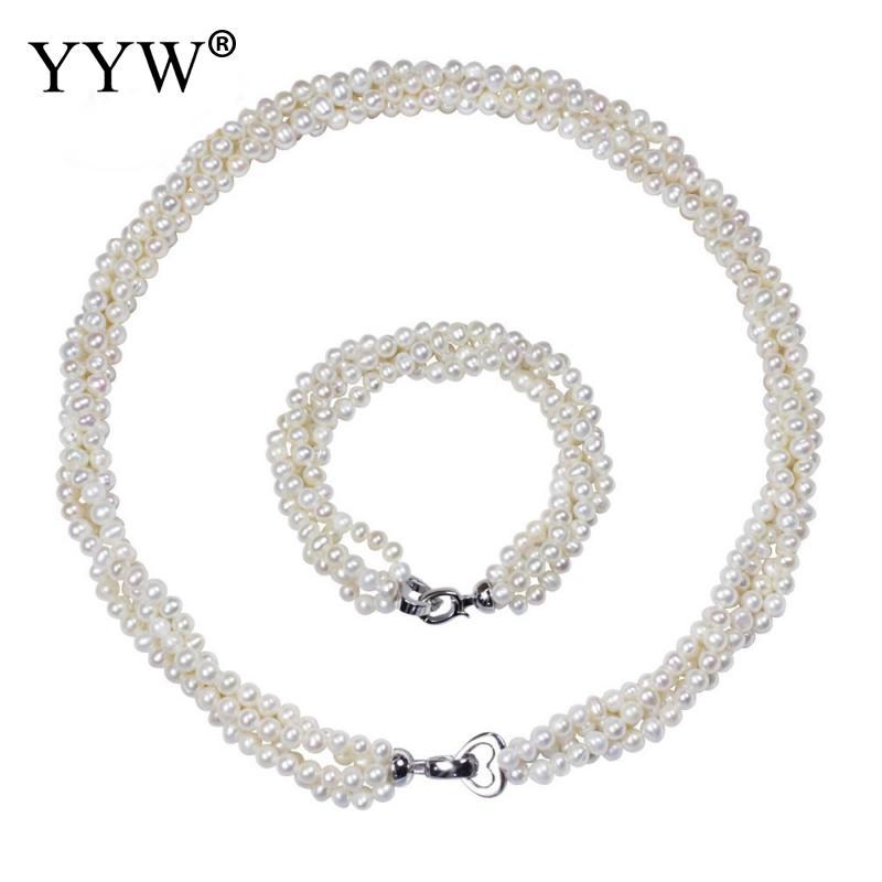 Collier et Bracelet de perles d'eau douce de culture naturelle pour femmes ensembles de bijoux de mode en laiton fermoir à rabat ensemble de 2 pièces de pomme de terre