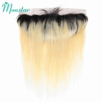 Monstar 1B 613 13*4 耳に耳のレースフロンタル閉鎖 2 3 4 バンドルブラジルストレート 2 トーンブロンドオンブル人間の毛束