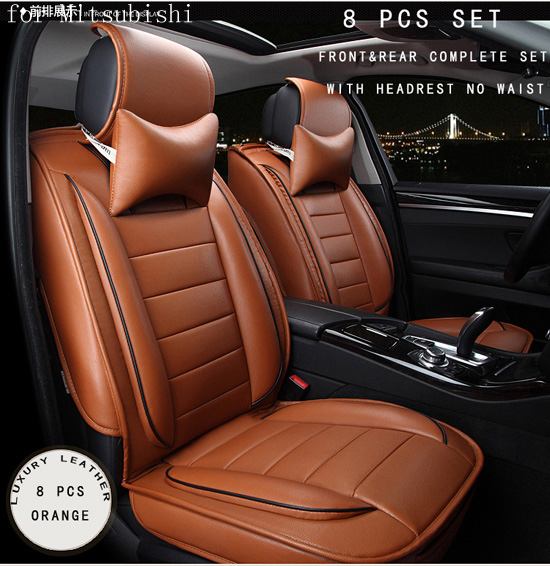 For mitsubishi asx outlander lancer pajero brown brand designer luxury pu leather front&rear full car seat covers four season newest car wifi hidden dvr for mitsubishi outlander asx lancer pajero with original style app share video sony sensor