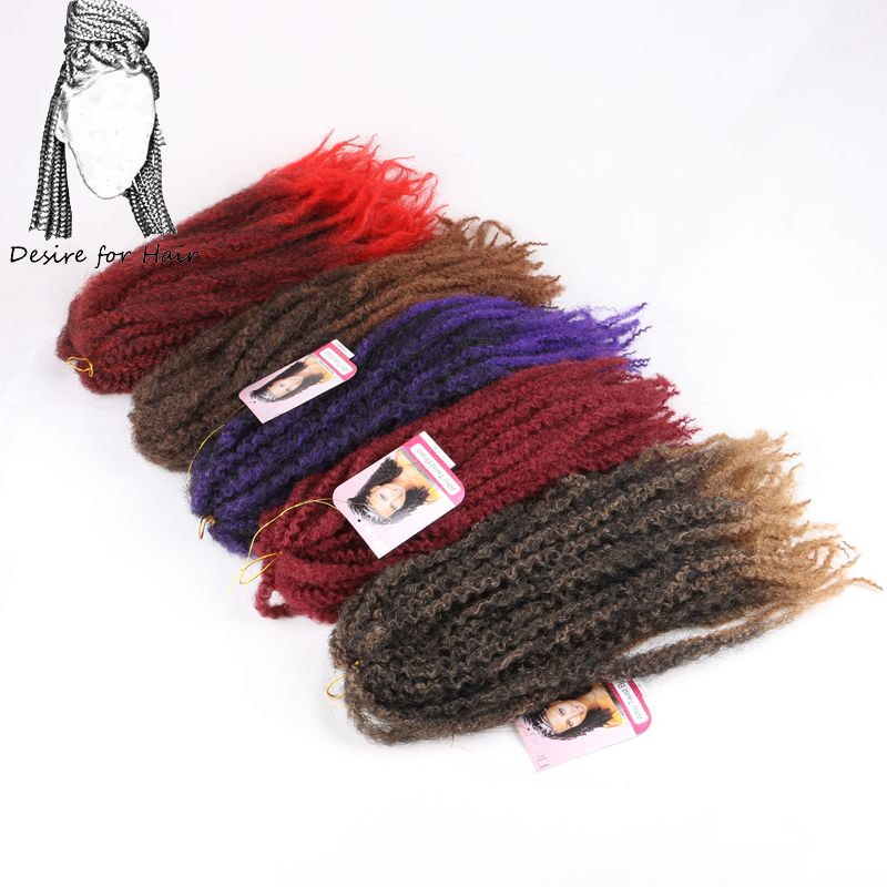 Desire for hair 1-3 packs 18inch 100g crochet synthetic marley braids hair extensions ombre red grey black color