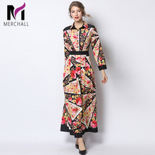 Merchall Fashion Designer Runway Dress Autumn Women Long sleeve Turn-down Collar Floral Print Vintage Slim Vestidos Maxi