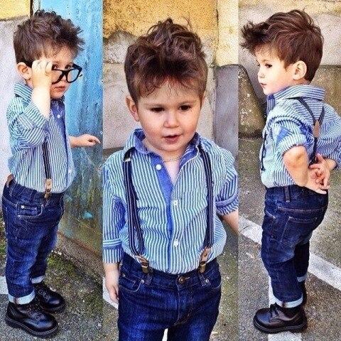 2015 Весна/Лето Мода Мальчиков Одежда Костюм джентльмен детская одежда плед/полосатый рубашка + Ремень джинсы 2 шт. детская одежда набор