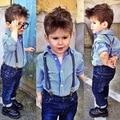 2015 Spring/Summer Fashion Boys Clothes Suit gentleman kids clothes plaid/striped shirt+Strap jeans 2pcs children clothing set