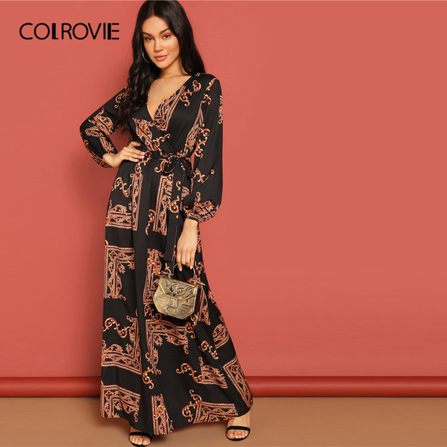COLROVIE V Neck Scarf Print Belted Wrap Casual Dress Women 2019 Spring Long Sleeve Party Maxi Dress Vacation Ladies Dresses