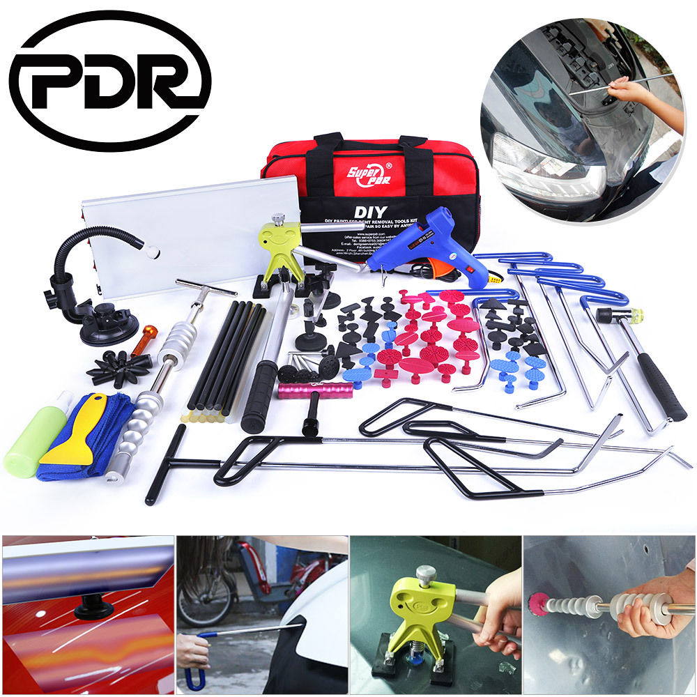 PDR Tool Set Hook Rods Tools Paintless Dent Repair Auto Tools Set Automobile Body Repair Car Door Dents Repair Updated Quality pdr hook tool set b4
