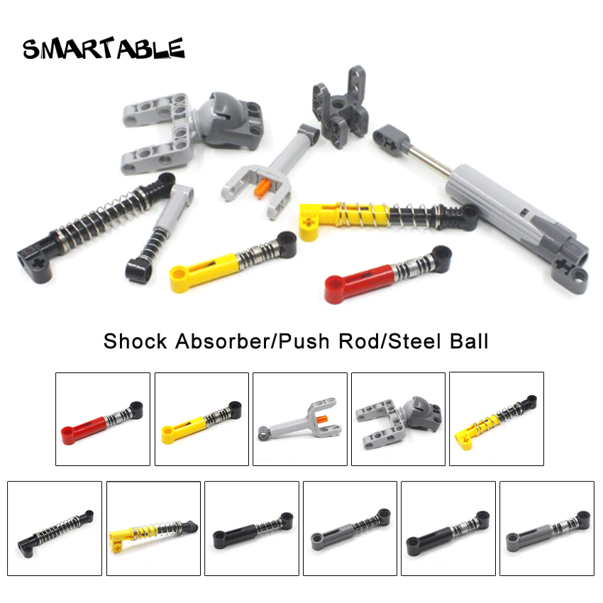 Smartable Technic Shock Absorber/Push Rod/Steel Ball MOC Part Building Block Toys For Kid Compatible All Brand 18404/76138/76537