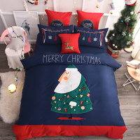 4/7 Pieces Embroidery Luxury christmas tree Bedding Set King Size Queen 80S Egyptian cotton Bed Set Duvet Cover Bed Sheet