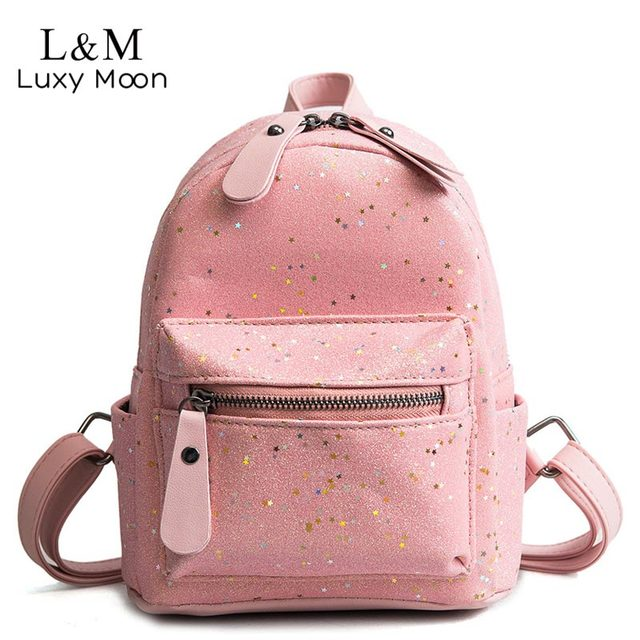 2c1f1f8132c9 Luxy moon Women Mini Sequin Backpack Glitter PU Leather Shoulder Bag  Teenage Girls Fashion Small Backpacks