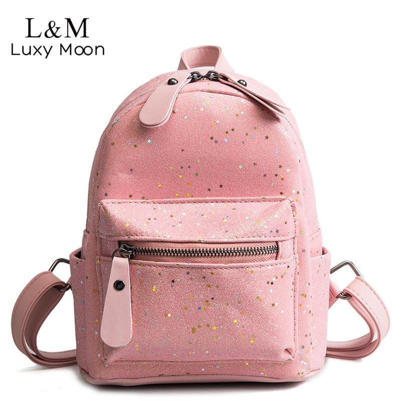 ... Luxy moon Women Mini Sequin Backpack Glitter PU Leather Shoulder Bag  Teenage Girls Fashion Small Backpacks 5060cacce9f0